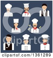 Clipart Of Flat Design Chefs Bakers And Waiters Over Blue Royalty Free Vector Illustration by Vector Tradition SM