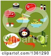 Clipart Of A Flat Design Foods On Green Royalty Free Vector Illustration
