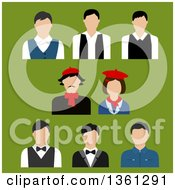 Clipart Of Flat Design Occupational People Avatars On Green Royalty Free Vector Illustration by Vector Tradition SM