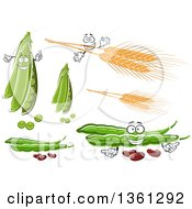 Clipart Of Cartoon Pea Pods Wheat And Beans Royalty Free Vector Illustration