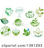 Clipart Of Green Bio Eco And Natural Designs Royalty Free Vector Illustration by Vector Tradition SM