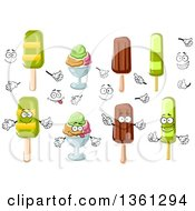 Clipart Of Cartoon Faces Hands Popsicles And Ice Cream Sundaes Royalty Free Vector Illustration