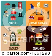 Clipart Of Travel Great Britain English And England Flat Designs Royalty Free Vector Illustration