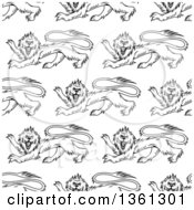 Clipart Of A Seamless Pattern Background Of Black And White Lions Royalty Free Vector Illustration by Seamartini Graphics
