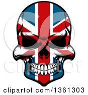 Poster, Art Print Of Grinning Evil Skull In British Flag Colors