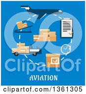 Clipart Of A Flat Design Airplane Cargo And Logistics Icons With Text On Blue Royalty Free Vector Illustration