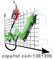 Clipart Of A 3d Gas Nozzle And Increase Arrow Over A Graph Royalty Free Vector Illustration by Vector Tradition SM