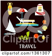 Clipart Of Flat Design Egypt Travel Vacation Items Over Text On Blue Royalty Free Vector Illustration