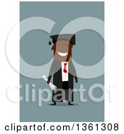 Clipart Of A Flat Design Happy Black Male Graduate Holding A Degree On A Blue Background Royalty Free Vector Illustration