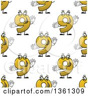 Clipart Of A Seamless Background Pattern Of Cartoon Yellow Number Nine Characters Royalty Free Vector Illustration by Vector Tradition SM