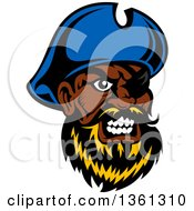 Clipart Of A Cartoon Tough Black Male Pirate Captain With A Blond Beard Wearing An Eye Patch Royalty Free Vector Illustration