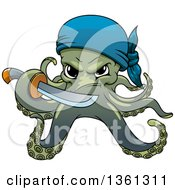 Clipart Of A Cartoon Pirate Octopus Holding A Sword Royalty Free Vector Illustration by Seamartini Graphics