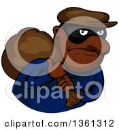 Clipart Of A Cartoon Black Robber Carrying A Bag On His Shoulder Royalty Free Vector Illustration
