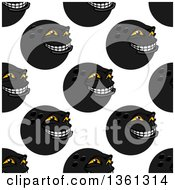 Poster, Art Print Of Seamless Background Pattern Of Black Grinning Bowling Ball Characters
