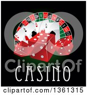 Clipart Of A Casino Roulette Wheel With Poker Chips Dice Playing Cards And Text On Black And Green Royalty Free Vector Illustration by Vector Tradition SM