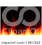 Clipart Of A Background Of Flames Over Black Royalty Free Vector Illustration