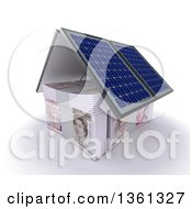 Clipart Of A 3d House Made Of Cash Money And Solar Panel Roofing On A White Background Royalty Free Illustration