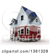 Clipart Of A 3d House With A Solar Panels On A White Background Royalty Free Illustration by KJ Pargeter