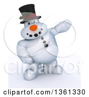 Clipart Of A 3d Snowman Character Presenting On A Shaded White Background Royalty Free Illustration by KJ Pargeter