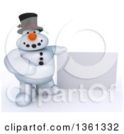 3d Snowman Character By A Blank Sign On A Shaded White Background