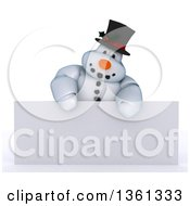 3d Snowman Character Over A Blank Sign On A Shaded White Background