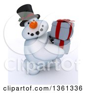 Clipart Of A 3d Snowman Character Carrying Christmas Gifts On A Shaded White Background Royalty Free Illustration