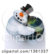 Clipart Of A 3d Snowman Character Hugging Planet Earth Featuring The Americas On A Shaded White Background Royalty Free Illustration