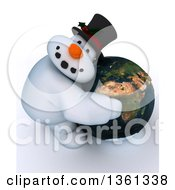 Clipart Of A 3d Snowman Character Hugging Planet Earth Featuring Africa On A Shaded White Background Royalty Free Illustration