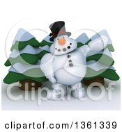 Clipart Of A 3d Snowman Character Presenting Over Evergreens On A Shaded White Background Royalty Free Illustration