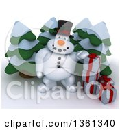 Clipart Of A 3d Snowman Character With Christmas Gifts And Evergreen Trees On A Shaded White Background Royalty Free Illustration