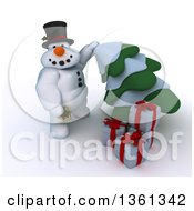 Clipart Of A 3d Snowman Character With Christmas Gifts Putting A Star On An Evergreen Tree On A Shaded White Background Royalty Free Illustration