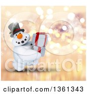 Clipart Of A 3d Snowman Character Carrying Christmas Gifts On A Sparkly Snowflake And Bokeh Background Royalty Free Illustration by KJ Pargeter
