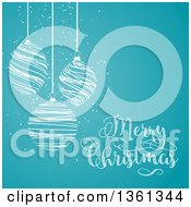 Clipart Of White Scribble Christmas Baubles Suspended Over Blue With Merry Christmas Text Royalty Free Vector Illustration