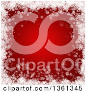 Clipart Of A Red Christmas Background Bordered In White Snowflakes And Stars Royalty Free Illustration