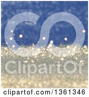 Clipart Of A Christmas Background Of Gradient Blue And Gold Sparkly Glitter Royalty Free Illustration