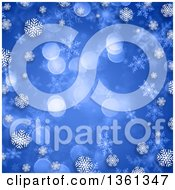 Clipart Of A Blue Christmas Background With Bokeh Flares Bordered In White Snowflakes Royalty Free Illustration