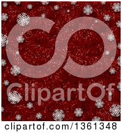 Clipart Of A Red Glitter Christmas Background Bordered In White Snowflakes Royalty Free Illustration