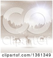 Clipart Of A Christmas Background Of Silhouetted Alert Deer In The Snow Against Trees With Sunshine Golden Sepia Tones Royalty Free Vector Illustration