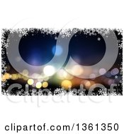 Clipart Of A Bokeh Flare Christmas Background Bordered In White Snowflakes Royalty Free Illustration