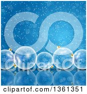 Clipart Of A Background Of 3d Transparent Christmas Baubles Over Blue Flares And Snowflakes Royalty Free Vector Illustration by KJ Pargeter