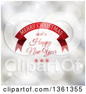 Clipart Of A Red Banner With Merry Christmas And A Happy New Year Greeting Over Bokeh Flares Royalty Free Vector Illustration