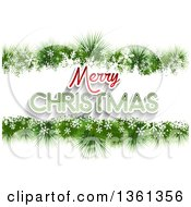 Clipart Of A Merry Christmas Greeting In A Border Of Snowflakes And Fir Branches On White Royalty Free Vector Illustration by KJ Pargeter