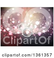 Clipart Of A Background Of 3d Transparent Christmas Baubles Hanging Over Purple And Pink Bokeh Royalty Free Vector Illustration