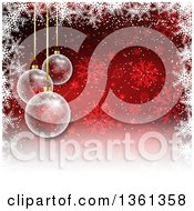Clipart Of A Background Of 3d Transparent Christmas Baubles Hanging Over A Red Snowflake Background With A Border Of White Royalty Free Vector Illustration