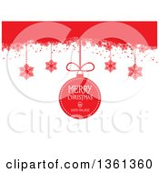Clipart Of A Suspended Merry Christmas And Happy New Year Bauble And Snowflakes From Red On White Royalty Free Vector Illustration by KJ Pargeter