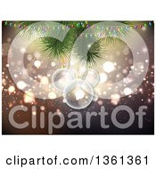 Clipart Of A Background Of 3d Transparent Christmas Baubles Hanging From Branches With Lights Over Bokeh Royalty Free Vector Illustration