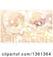 Clipart Of A Golden Christmas Background Of Bokeh Flares And Snowflakes Royalty Free Illustration