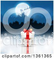 Clipart Of A Silhouetted Santa Flying His Magic Sleigh Over A Full Moon And Wooded Mountains With 3d Christmas Gifts And Snowflakes Below Royalty Free Vector Illustration