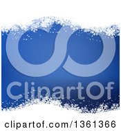 Clipart Of A Blue Christmas Background With Waves Of White Snowflakes Royalty Free Vector Illustration