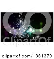 Clipart Of A Christmas Background Of Abstract Sparkly Lights On Black Royalty Free Illustration